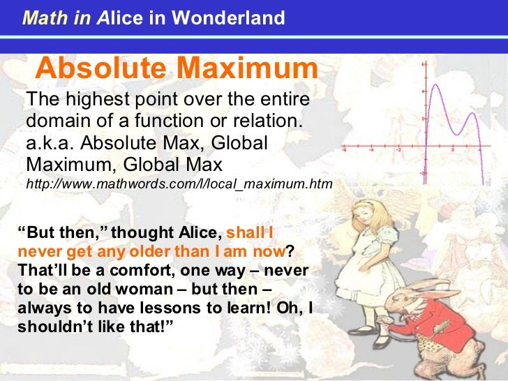 """Absolute Maximum """" But then,"""" thought Alice,  shall I never get any older than I am now ? That'll be a comfort, one way – ..."""
