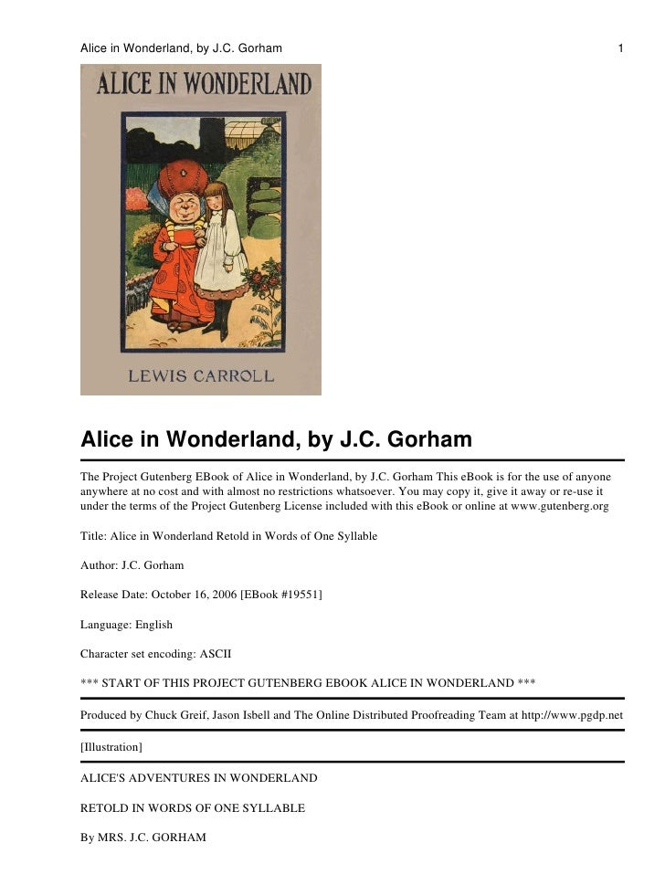 Alice in Wonderland, by J.C. Gorham                                                                          1Alice in Won...