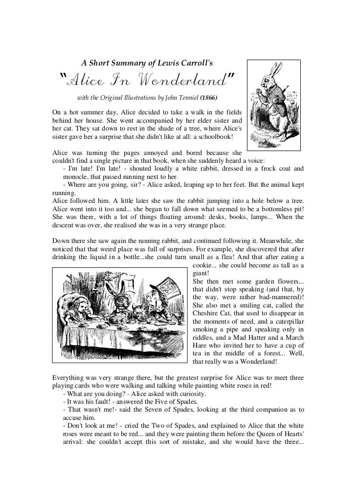 """A Short Summary of Lewis Carrolls  """"Alice In Wonderland""""         with the Original Illustrations by John Tenniel (1866)On ..."""