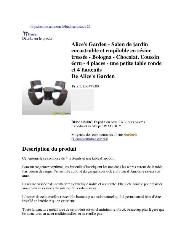 Alice\'s garden salon de jardin encastrable et empilable en ...
