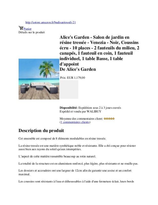 Alice\'s garden salon de jardin en résine tressée - venezia - noir, …