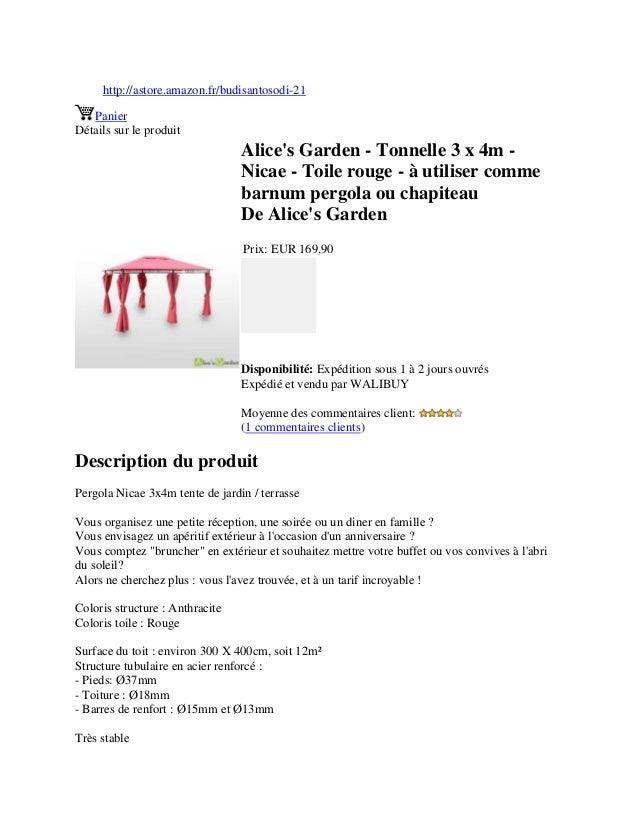 http://astore.amazon.fr/budisantosodi-21PanierDétails sur le produitAlices Garden - Tonnelle 3 x 4m -Nicae - Toile rouge -...