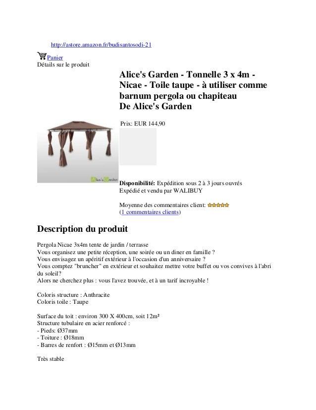 http://astore.amazon.fr/budisantosodi-21PanierDétails sur le produitAlices Garden - Tonnelle 3 x 4m -Nicae - Toile taupe -...