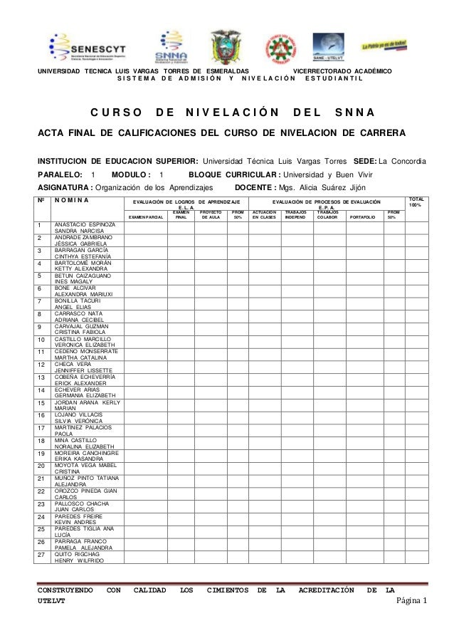 UNIVERSIDAD TECNICA LUIS VARGAS TORRES DE ESMERALDAS VICERRECTORADO ACADÉMICO                     SISTEMA DE ADMISIÓN Y NI...