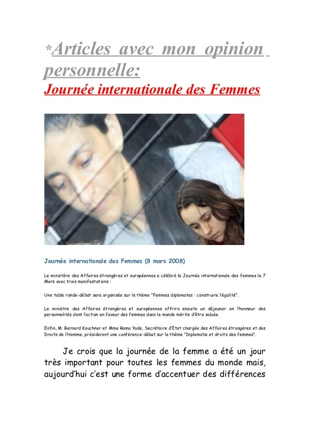 *Articles avec mon opinion personnelle: Journée internationale des Femmes Journée internationale des Femmes (8 mars 2008) ...