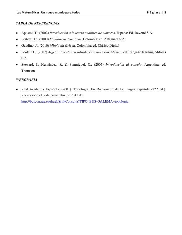 Las Matemáticas: Un nuevo mundo para todos                                               Página |8TABLA DE REFERENCIAS   A...