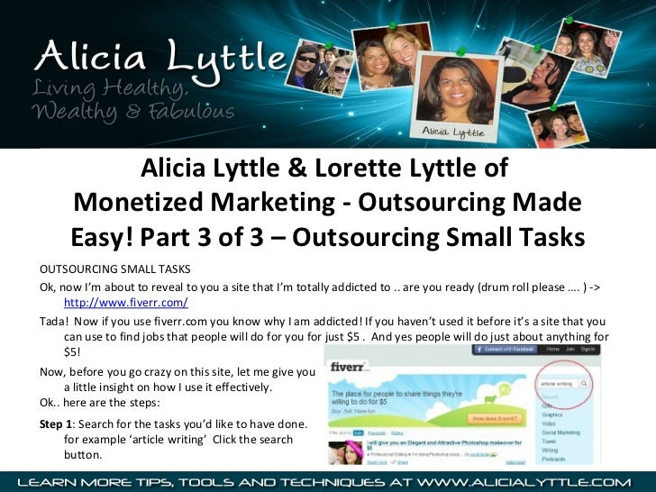 Alicia Lyttle & Lorette Lyttle of      Monetized Marketing - Outsourcing Made      Easy! Part 3 of 3 – Outsourcing Small T...