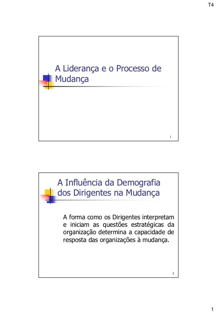 T4A Liderança e o Processo deMudança                                      1A Influência da Demografiados Dirigentes na Mud...