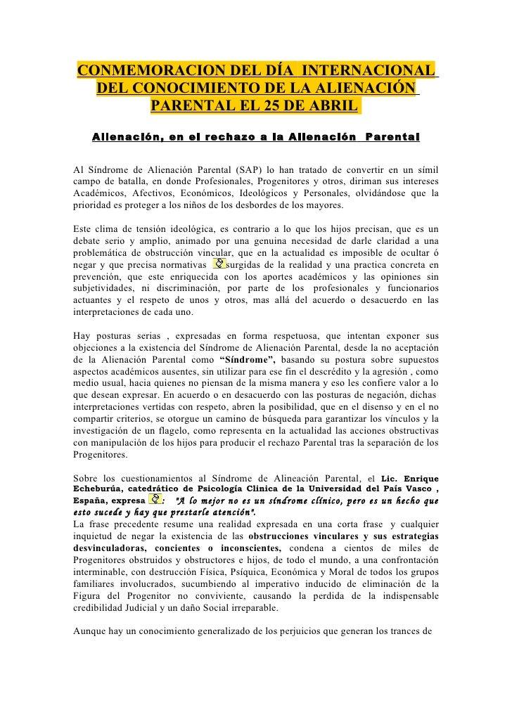 CONMEMORACION DEL DÍA INTERNACIONAL   DEL CONOCIMIENTO DE LA ALIENACIÓN         PARENTAL EL 25 DE ABRIL     Alienación, en...