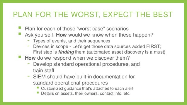 """PLAN FOR THE WORST, EXPECT THE BEST      Plan for each of those """"worst case"""" scenarios Ask yourself: How would we know ..."""