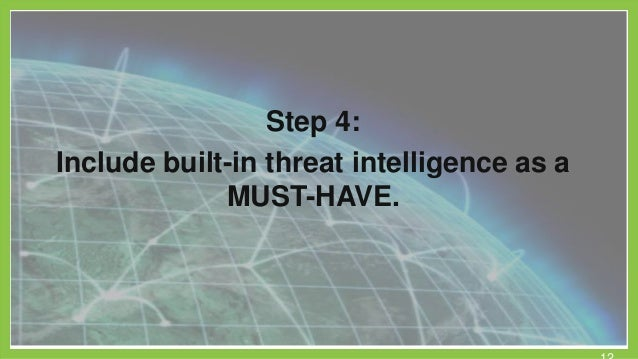 Step 4: Include built-in threat intelligence as a MUST-HAVE.