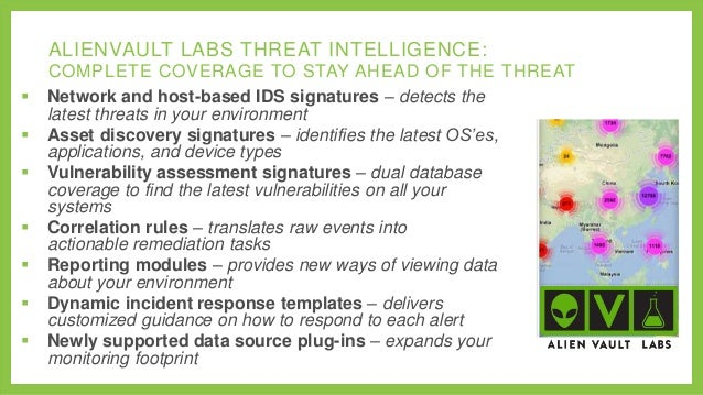 ALIENVAULT LABS THREAT INTELLIGENCE:          COMPLETE COVERAGE TO STAY AHEAD OF THE THREAT Network and host-based ...