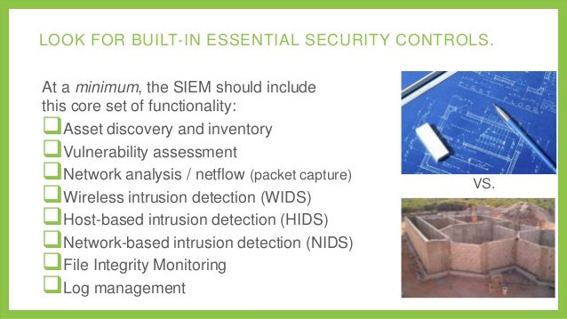 LOOK FOR BUILT-IN ESSENTIAL SECURITY CONTROLS. At a minimum, the SIEM should include this core set of functionality: Asse...
