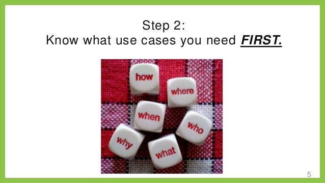Step 2: Know what use cases Know what use you need FIRST.  cases you'll need FIRST.  5