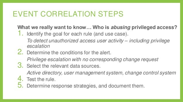 EVENT CORRELATION STEPS What we really want to know… Who is abusing privileged access? 1. Identify the goal for each rule ...