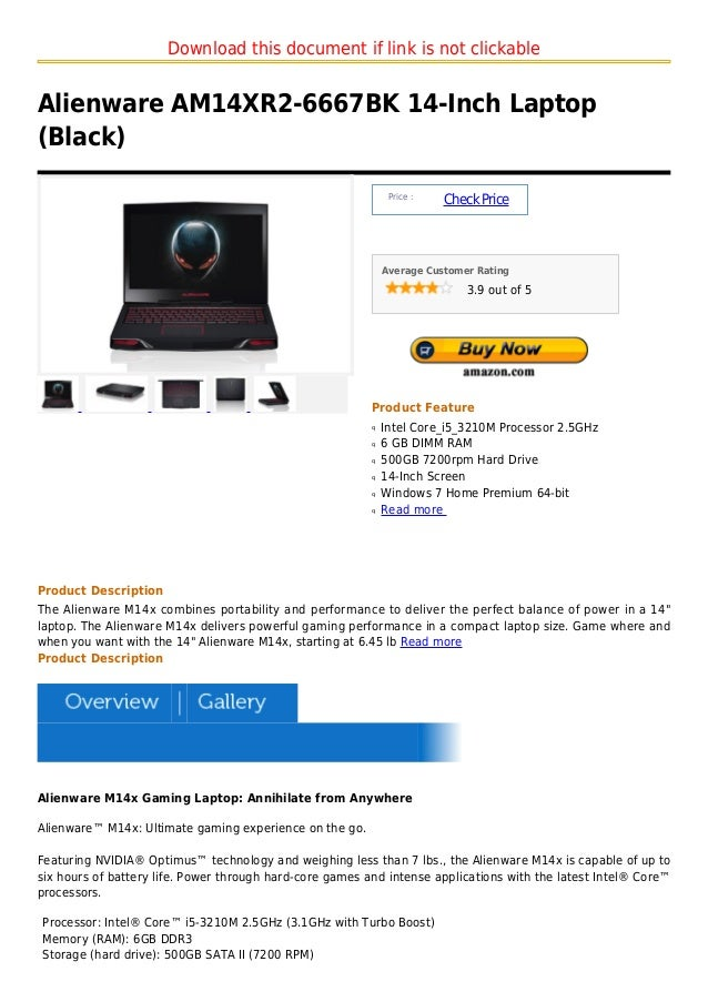 Download this document if link is not clickableAlienware AM14XR2-6667BK 14-Inch Laptop(Black)                             ...