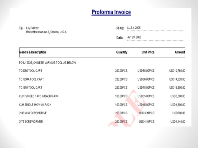 proforma invoice for export