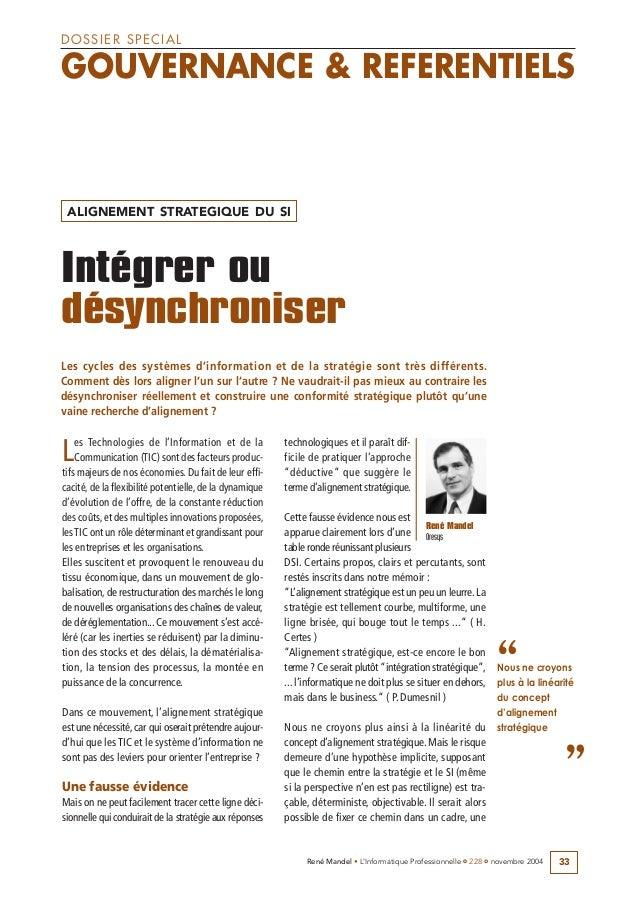 33René Mandel • L'Informatique Professionnelle •• 228 •• novembre 2004Les Technologies de l'Information et de laCommunicat...
