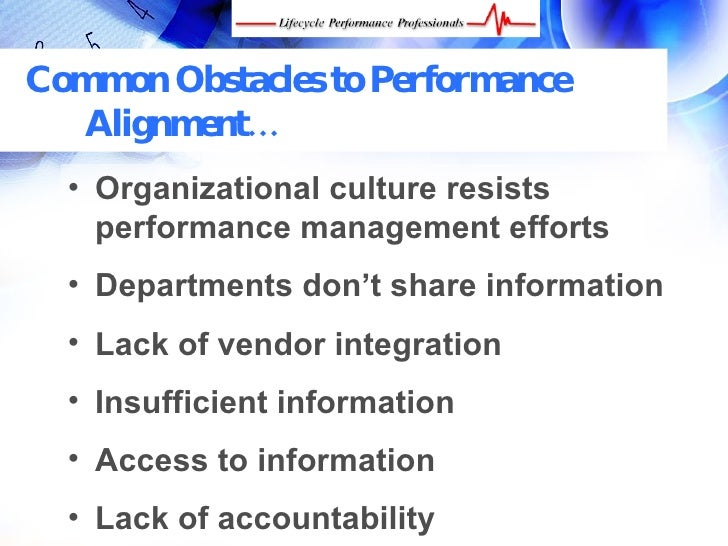 organization alignment and performance essay Effective performance management with the balanced scorecard  11 from performance measurement to strategic management  and alignment between the.