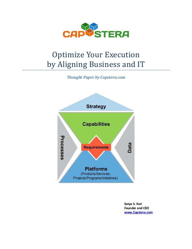 Optimize Your Execution by Aligning Business and IT Thought Paper by Capstera.com  Satya S. Iluri Founder and CEO www.Caps...