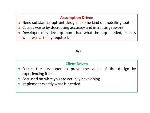 Assumption Driven o Need substantial upfront-design in some kind of modelling tool o Causes waste by decreasing accuracy a...
