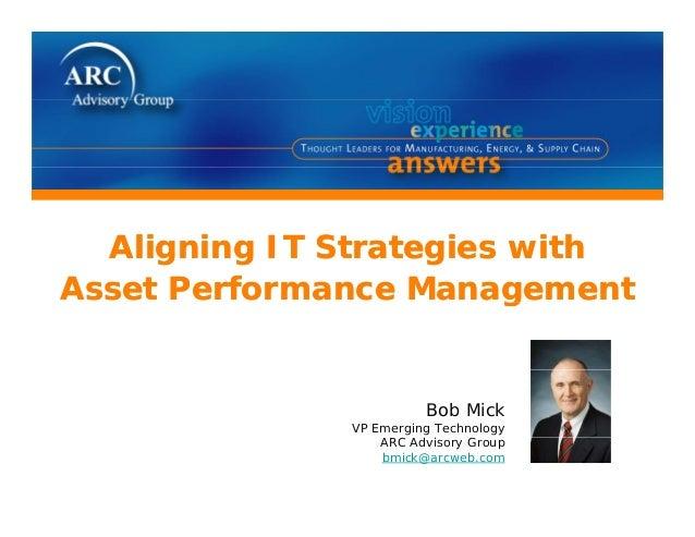 li i i i hli i i i hAligning IT Strategies withAsset Performance ManagementAligning IT Strategies withAsset Performance Ma...