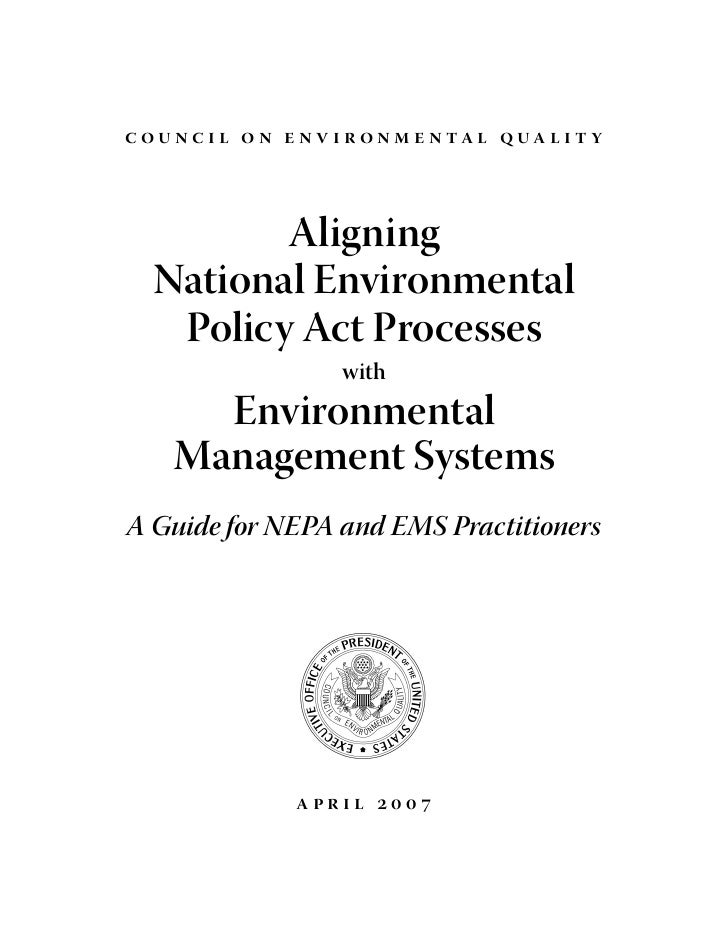 c o unc i l o n e n v i r o n m e n ta l q ua l i t y              Aligning    National Environmental     Policy Act Proce...