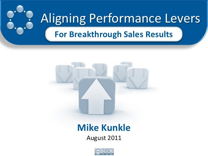 Aligning Performance Levers  For Breakthrough Sales Results       Mike Kunkle          August 2011