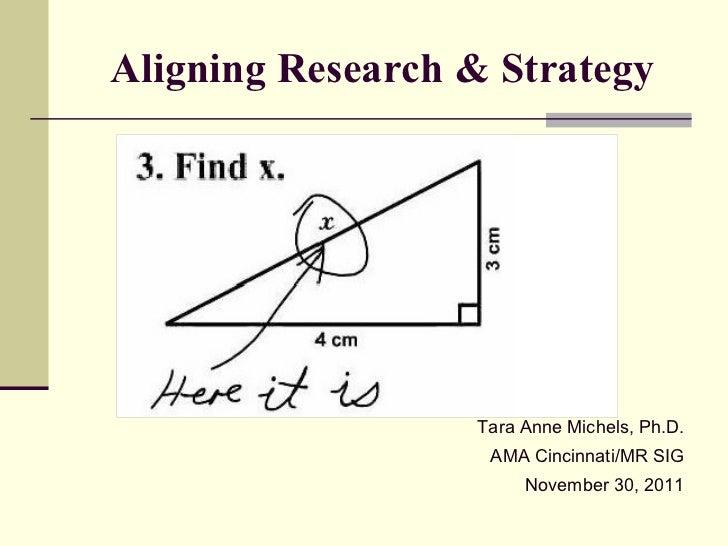 Aligning Research & Strategy Tara Anne Michels, Ph.D. AMA Cincinnati/MR SIG November 30, 2011