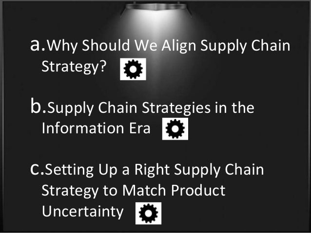aligning the supply chain strategies with Supply chain strategy for a  6 strategies for better supply chain management in the  effective strategies coupled with a well-defined plan and the right.
