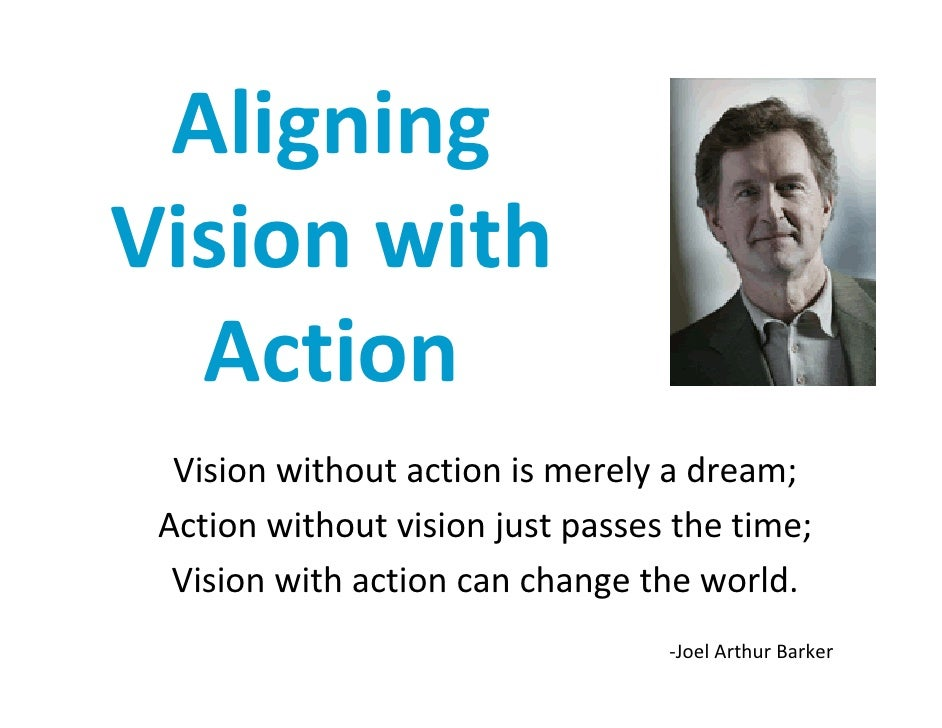 Aligning Visionwith   Action   Visionwithoutactionismerelyadream;  Actionwithoutvisionjustpassesthetime;   ...