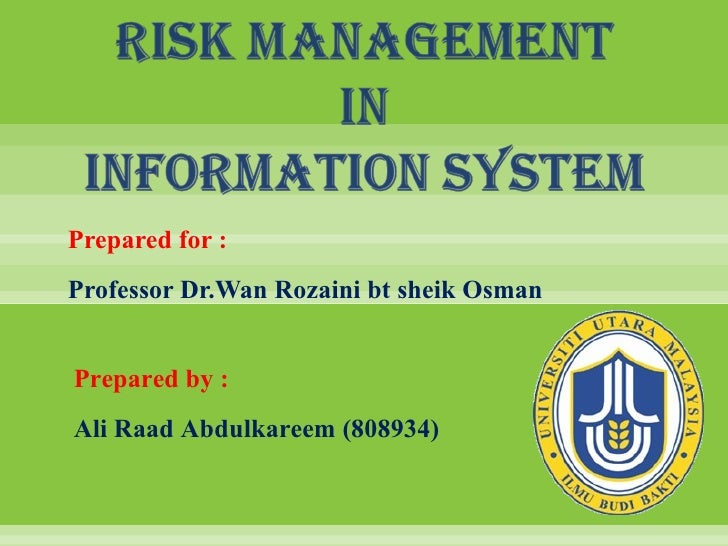 Prepared for :Professor Dr.Wan Rozaini bt sheik OsmanPrepared by :Ali Raad Abdulkareem (808934)