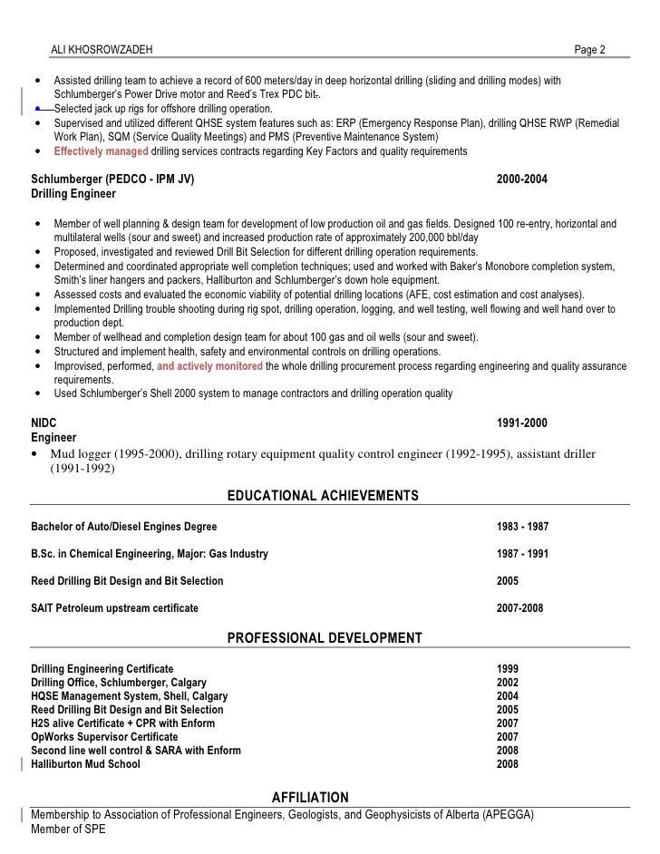 2 - Drilling Engineer Sample Resume