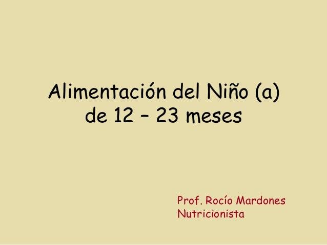 Alimentación del Niño (a) de 12 – 23 meses Prof. Rocío Mardones Nutricionista