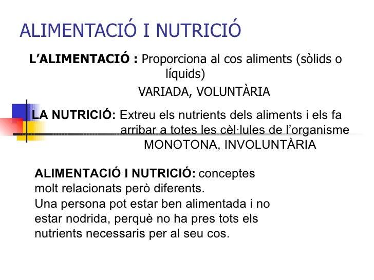 ALIMENTACIÓ I NUTRICIÓ L'ALIMENTACIÓ :  Proporciona al cos aliments (sòlids o líquids) VARIADA, VOLUNTÀRIA LA NUTRICIÓ:  E...