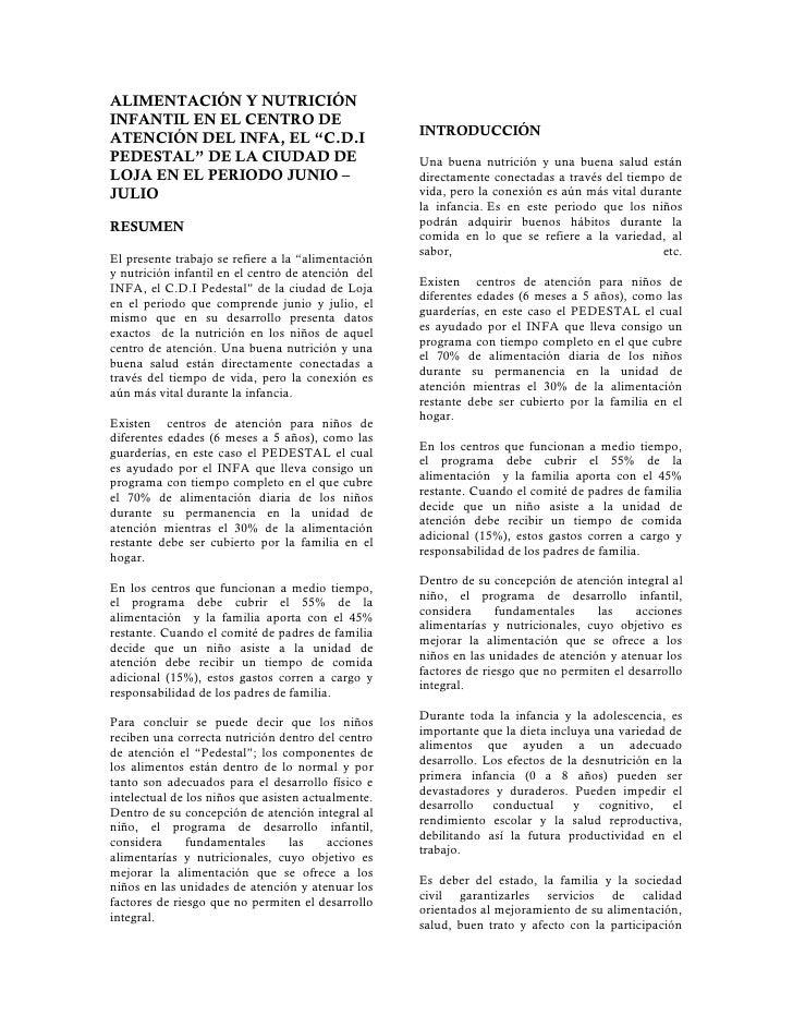 ALIMENTACIÓN Y NUTRICIÓN INFANTIL EN EL CENTRO DE                                                     INTRODUCCIÓN ATENCIÓ...