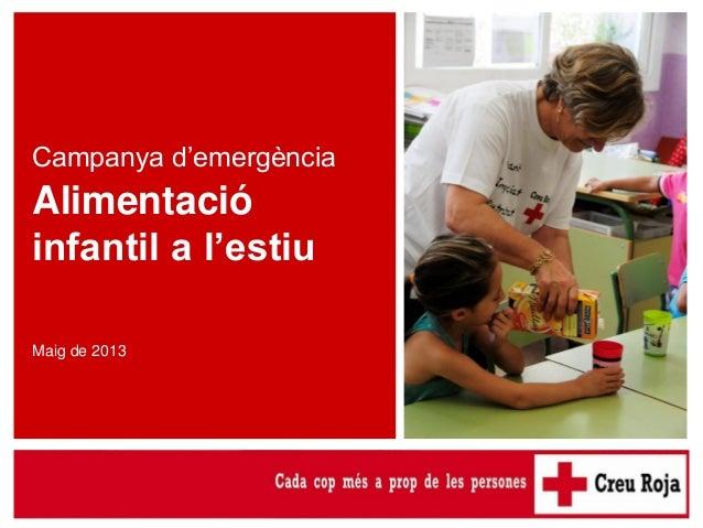 Campanya d'emergència per a l'alimentació infantil a l'estiu Campanya d'emergència Alimentació infantil a l'estiu Maig de ...