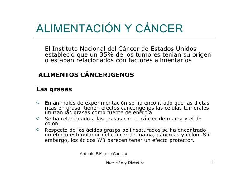 ALIMENTACIÓN Y CÁNCER <ul><li>El Instituto Nacional del Cáncer de Estados Unidos estableció que un 35% de los tumores tení...