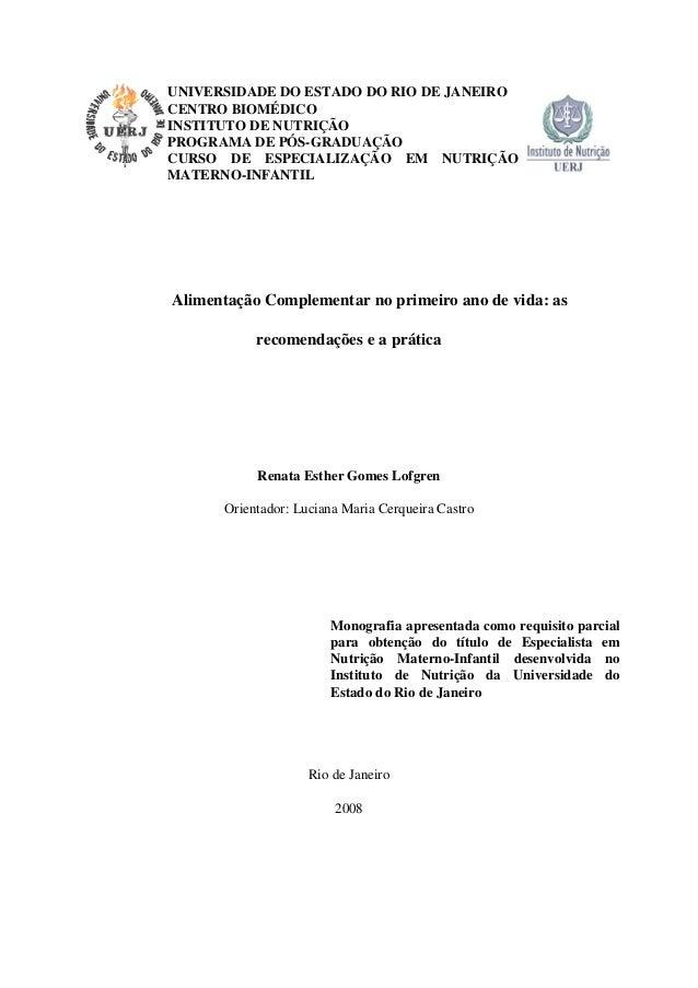 UNIVERSIDADE DO ESTADO DO RIO DE JANEIRO CENTRO BIOMÉDICO INSTITUTO DE NUTRIÇÃO PROGRAMA DE PÓS-GRADUAÇÃO CURSO DE ESPECIA...