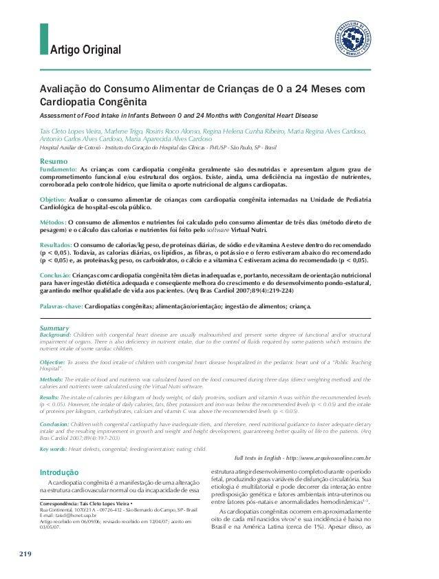 Artigo Original      Avaliação do Consumo Alimentar de Crianças de 0 a 24 Meses com      Cardiopatia Congênita      Assess...