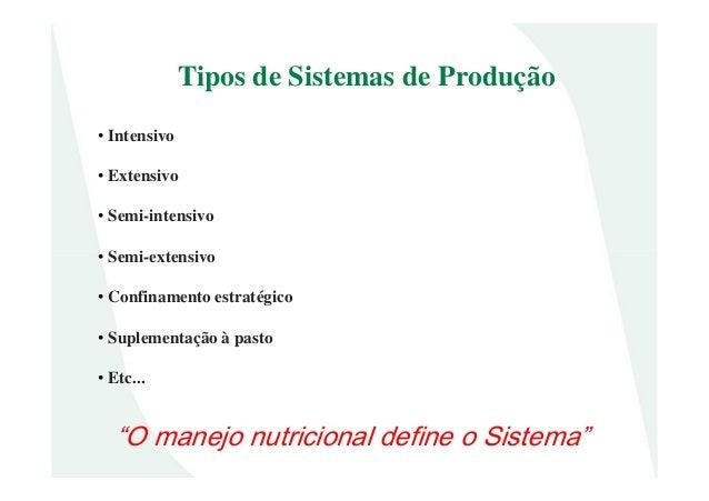 • Intensivo• Extensivo• Semi-intensivo• Semi-extensivoTipos de Sistemas de Produção• Semi-extensivo• Confinamento estratég...