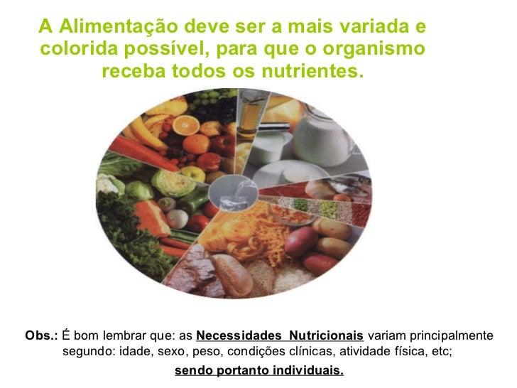 A Alimentação deve ser a mais variada e colorida possível, para que o organismo receba todos os nutrientes. Obs.:  É bom l...