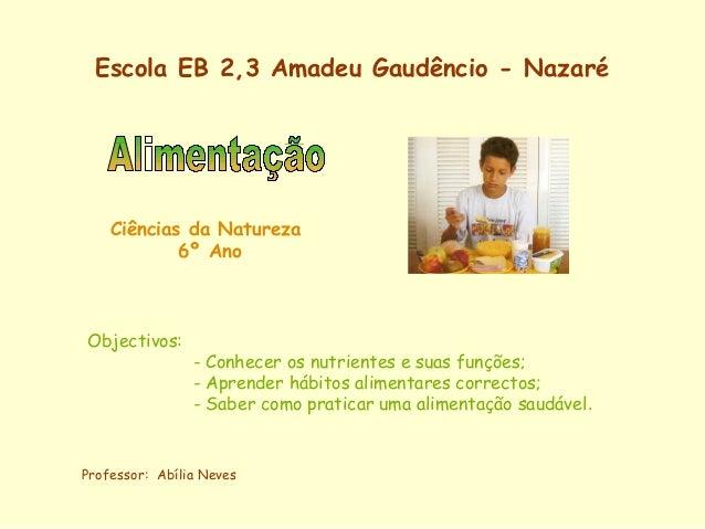 Escola EB 2,3 Amadeu Gaudêncio - Nazaré Ciências da Natureza 6º Ano Objectivos: - Conhecer os nutrientes e suas funções; -...