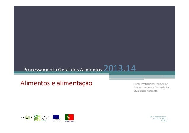 Processamento  Geral  dos  Alimentos  2013.14   Alimentos  e  alimentação   AE  D.  Afonso  Sanches...