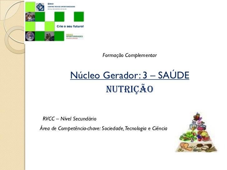Formação Complementar             Núcleo Gerador: 3 – SAÚDE                    Nutrição RVCC – Nível SecundárioÁrea de Com...