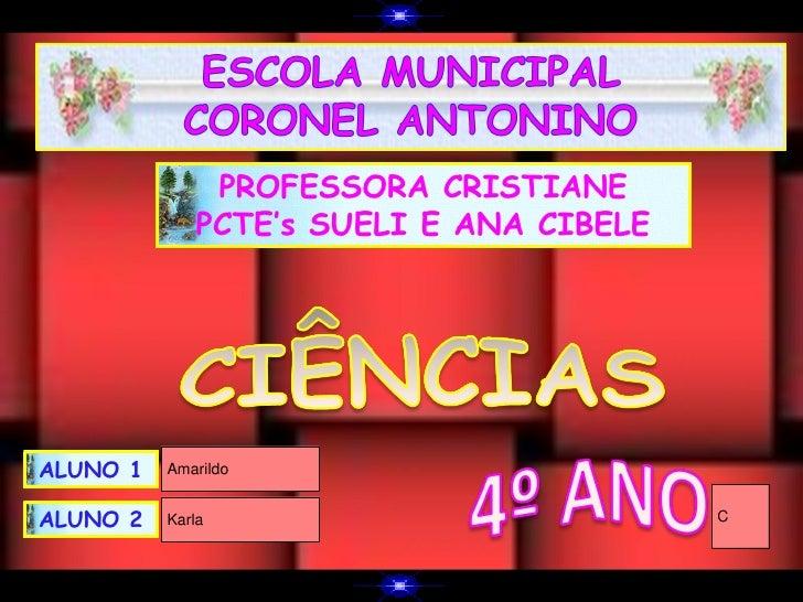 PROFESSORA CRISTIANE             PCTE's SUELI E ANA CIBELEALUNO 1   AmarildoALUNO 2   Karla                          C