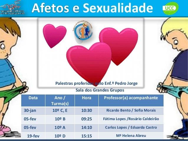 Afetos e Sexualidade            Palestras proferidas pelo Enf.º Pedro Jorge                       Sala dos Grandes Grupos ...