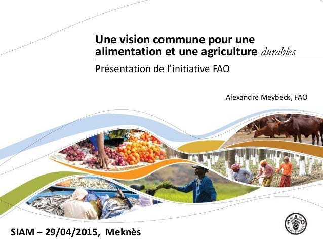 Une vision commune pour une alimentation et une agriculture durables SIAM – 29/04/2015, Meknès Présentation de l'initiativ...