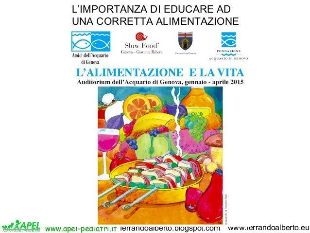 www.apel-pediatri.it www.ferrandoalberto.euferrandoalberto.blogspot.com L'IMPORTANZA DI EDUCARE AD UNA CORRETTA ALIMENTAZI...