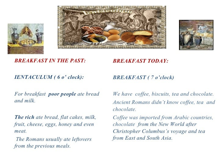 ANCIENT ROMAN FOOD AND FOOD TODAY